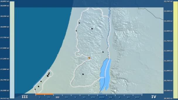Sluneční záření podle měsíce v oblasti Palestina s animovanou legendou - zářící tvar, administrativní hranice, hlavní města, hlavního města. Stereografická projekce
