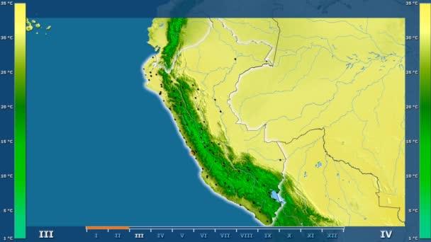 Maximális hőmérséklet által hónap animált legenda - izzó, alakú, közigazgatási határok, főbb városok, tőke és Peru területén. Számítások Sztereografikus vetület