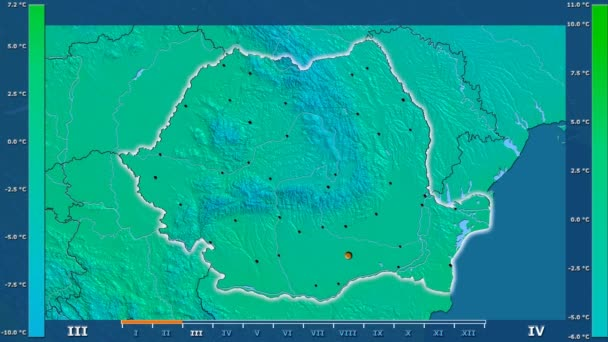 Minimum temperature by month in the Romania area with animated legend - glowing shape, administrative borders, main cities, capital. Stereographic projection