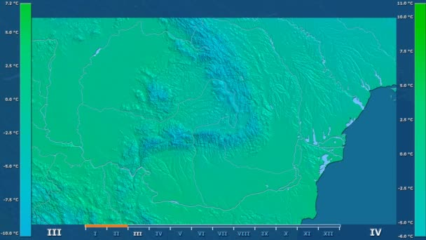 Minimum temperature by month in the Romania area with animated legend - raw color shader. Stereographic projection