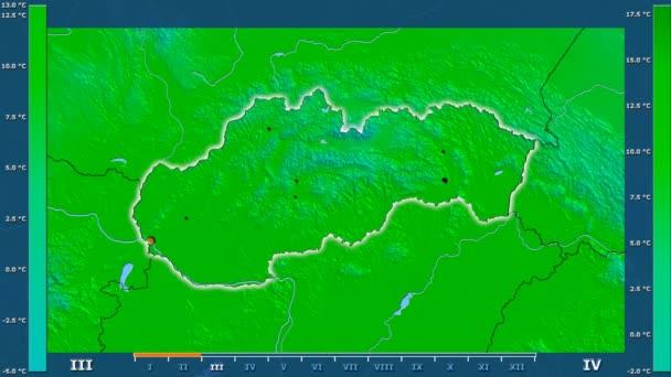 Maximální teplota podle měsíce v oblasti Slovenska s animovanou legendou - zářící tvar, administrativní hranice, hlavní města, hlavního města. Stereografická projekce