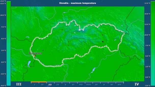 Maximum temperature by month in the Slovakia area with animated legend - English labels: country and capital names, map description. Stereographic projection