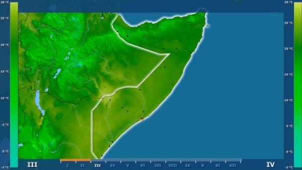 Animasyonlu efsanesi - parlayan şekli, idari sınırları, ana şehirler, sermaye ile Somali alanında minimum sıcaklığı aya göre. Sterografik projeksiyon