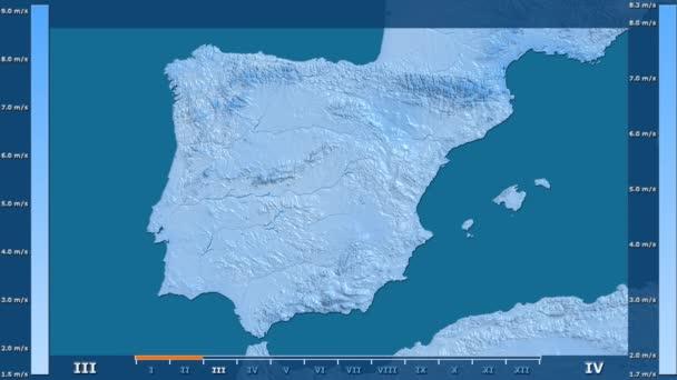 Rychlost větru podle měsíce v oblasti Španělsko s animovanou legendou - syrové barevného shaderu. Stereografická projekce