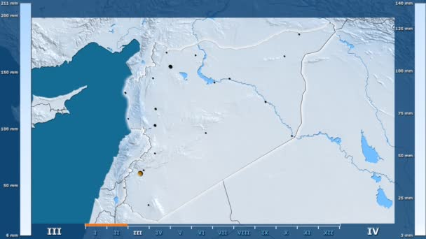 Precipitation by month in the Syria area with animated legend - glowing shape, administrative borders, main cities, capital. Stereographic projection