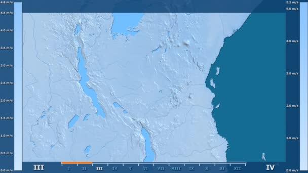 Rychlost větru podle měsíce v oblasti Tanzanie s animovanou legendou - syrové barevného shaderu. Stereografická projekce