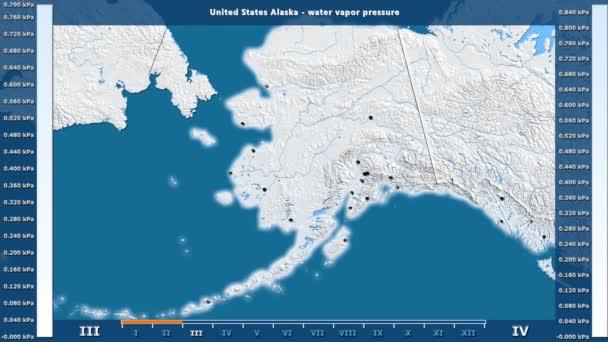 Tlak vodní páry podle měsíce v oblasti Spojené státy Aljaška s animovanou legendou - anglické popisky: země a velké názvy, popis mapy. Stereografická projekce