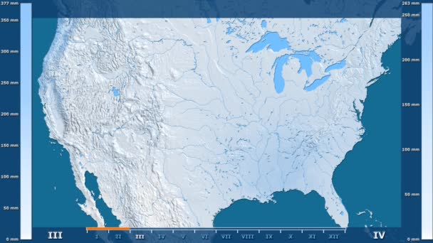 Precipitation by month in the United States Mainland area with animated legend - raw color shader. Stereographic projection
