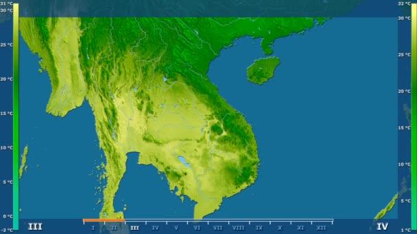 Átlaghőmérséklet havonta az animált legenda - nyers színű shader Vietnam területén. Számítások Sztereografikus vetület