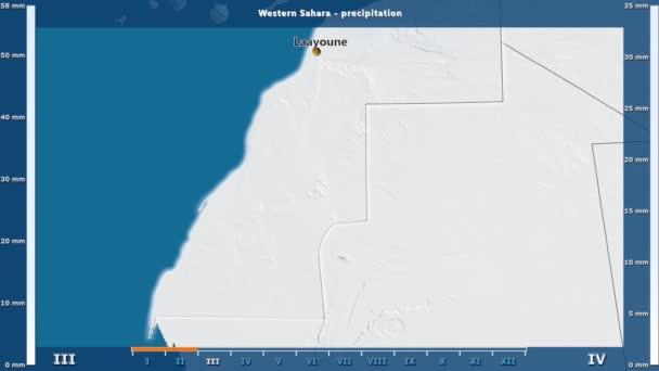 Srážky za měsíc v oblasti Západní Sahary s animovanou legendou - anglické popisky: země a velké názvy, popis mapy. Stereografická projekce