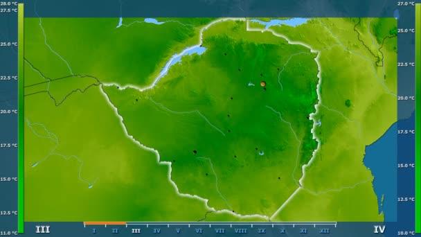 Animasyonlu efsanesi - parlayan şekli, idari sınırları, ana şehirler, sermaye ile Zimbabve alanında ortalama sıcaklık aya göre. Sterografik projeksiyon
