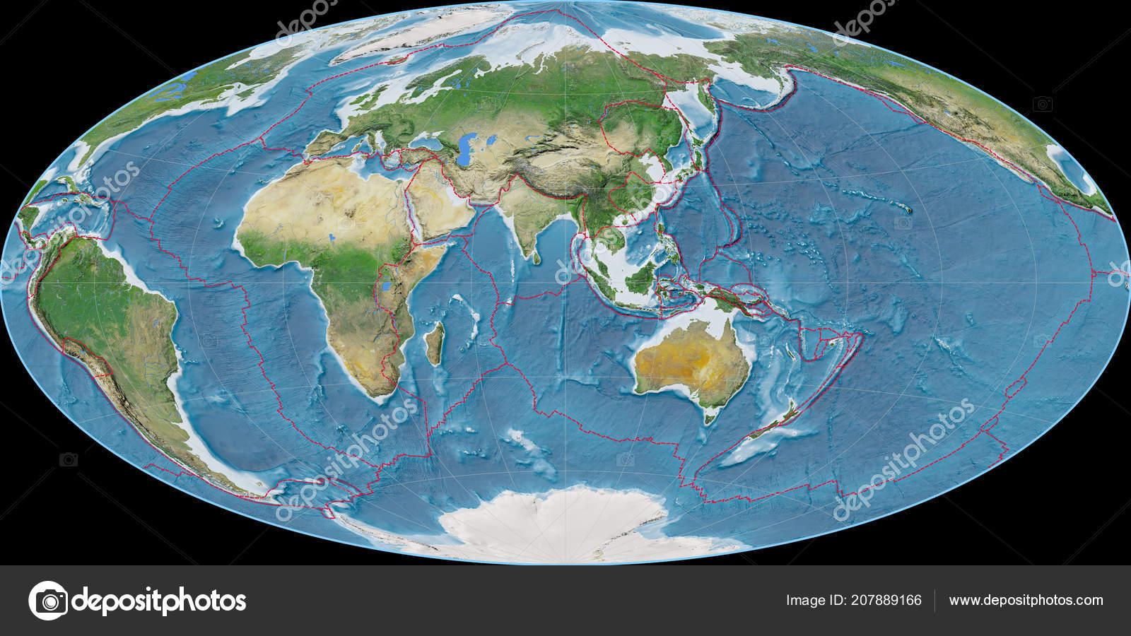 World Map Aitoff Projection Centered East Longitude Satellite