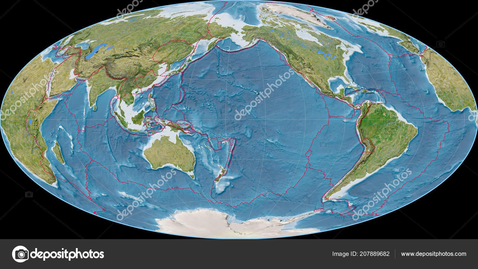 World Map Aitoff Projection Centered 170 West Longitude Satellite