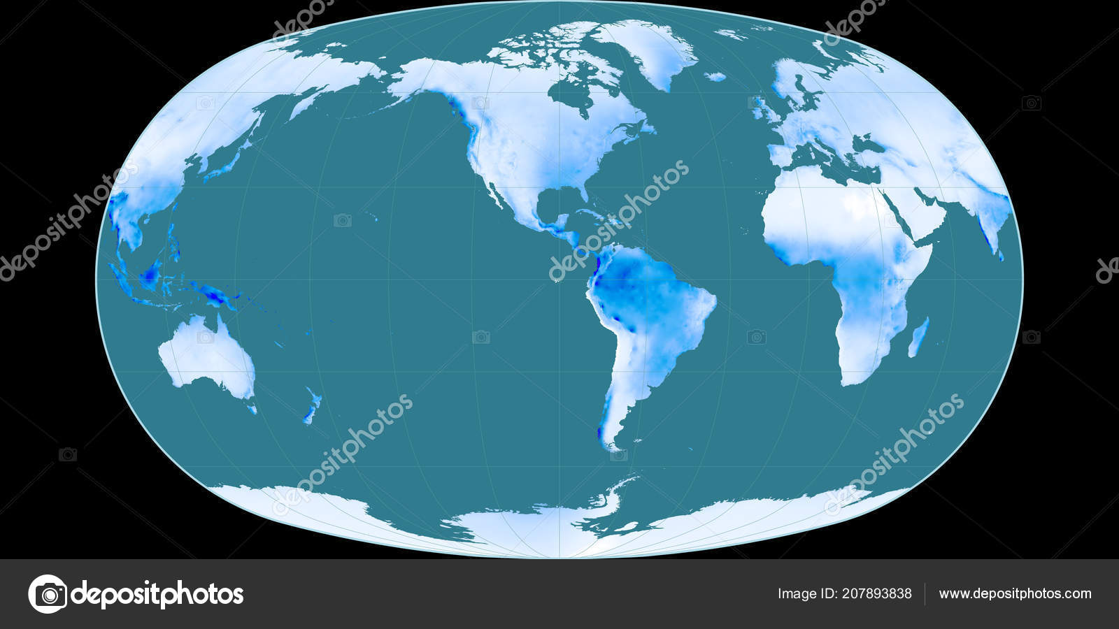 Precipitation World Map.World Map Baranyi Projection Centered West Longitude Mean Annual