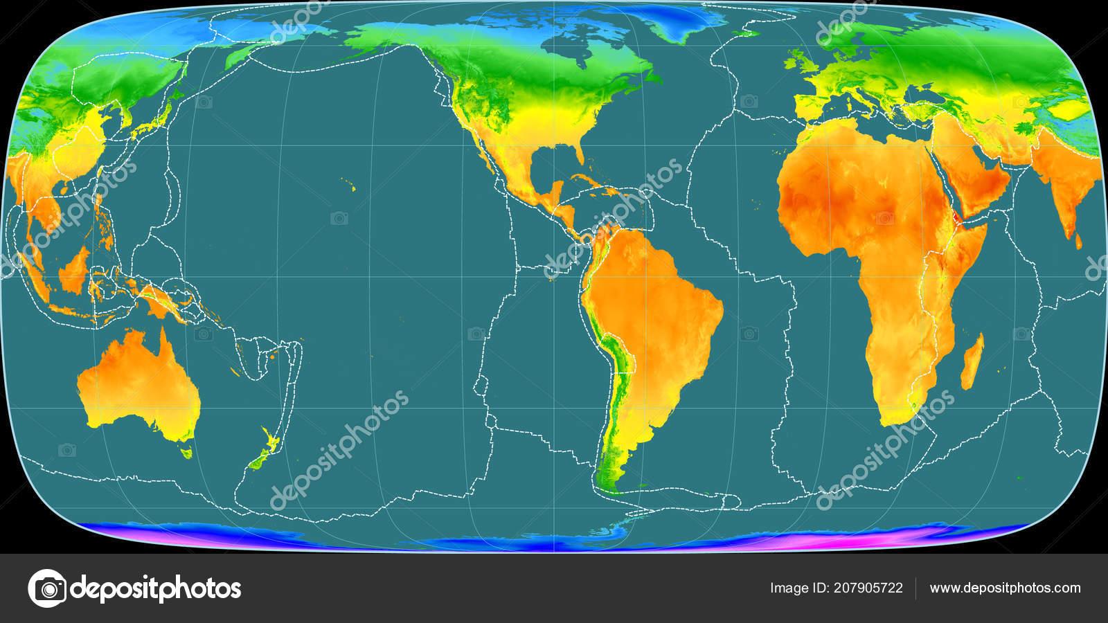 World Map Foucaut Sinusoidal Projection Centered West Longitude Mean ...