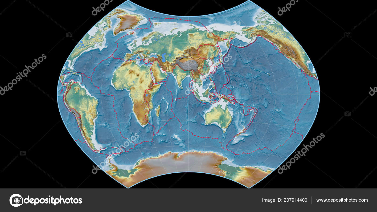World map ginzburg projection centered east longitude topographic world map ginzburg projection centered east longitude topographic relief map stock photo gumiabroncs Image collections