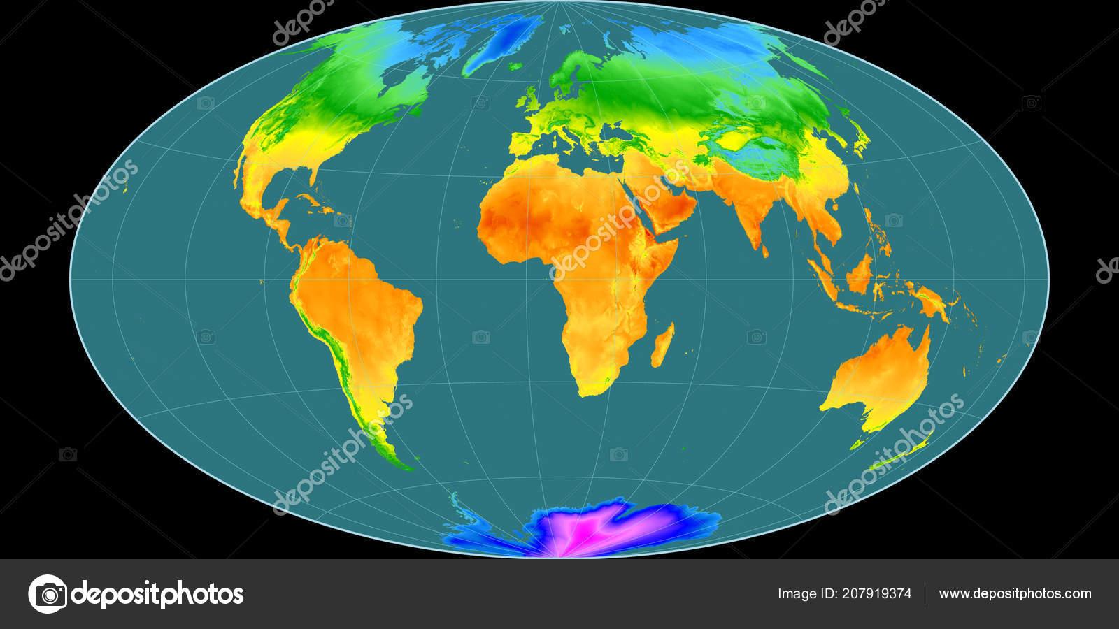 Mapa Sveta Hammer Nakloneni Projekce Vychodni Delky Prumerna Rocni