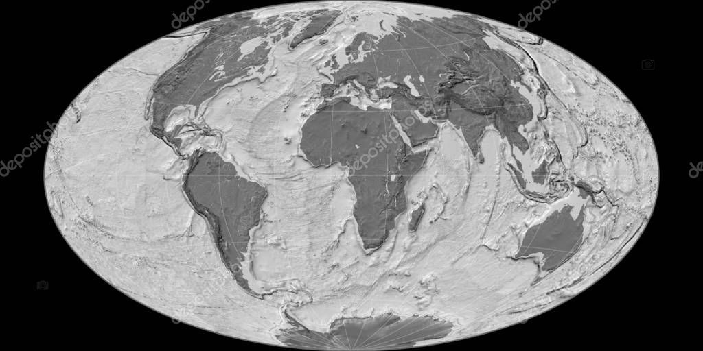 World map in the Hammer Oblique projection centered on 11 East longitude. Bilevel topographic map - raw composite of raster with graticule