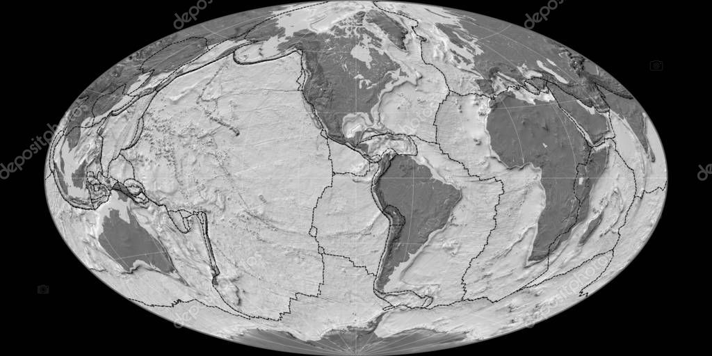World map in the Hammer Oblique projection centered on 90 West longitude. Bilevel topographic map - composite of raster with graticule and tectonic plates borders