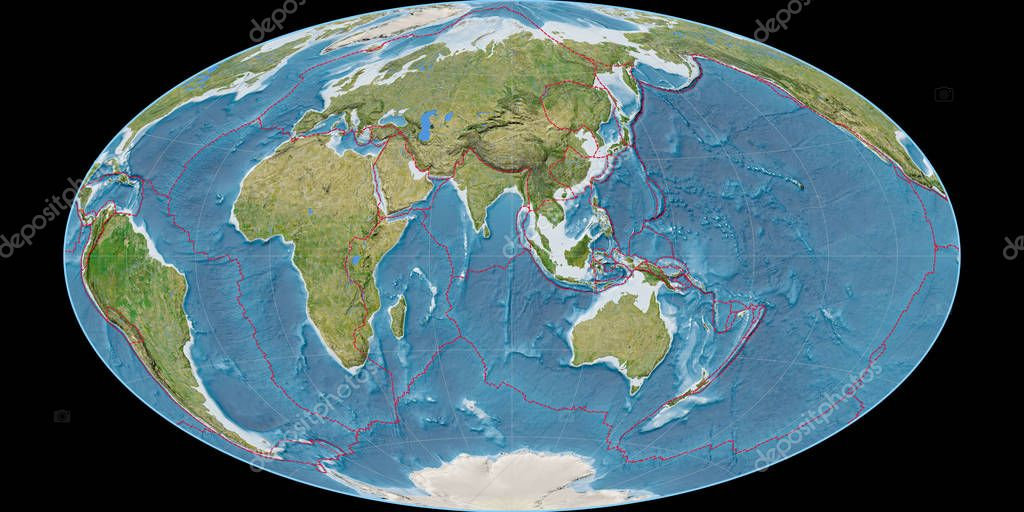 World map in the Hammer Oblique projection centered on 90 East longitude. Satellite imagery B - composite of raster with graticule and tectonic plates borders