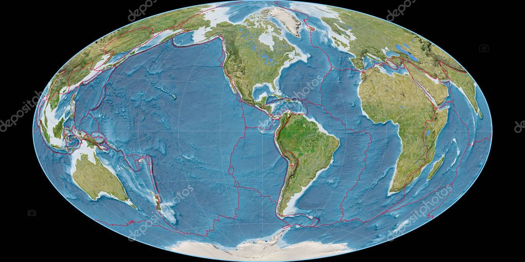 World map in the Hammer Oblique projection centered on 90 West longitude. Satellite imagery B - composite of raster with graticule and tectonic plates borders