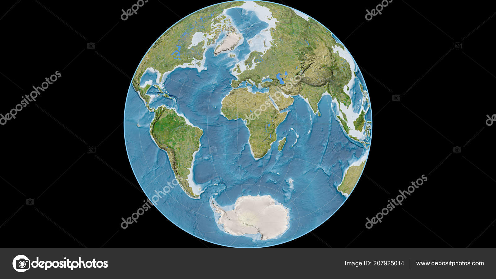 World map james azimuthal projection centered east longitude world map james azimuthal projection centered east longitude satellite imagery stock photo gumiabroncs Image collections