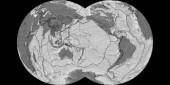 Fotografie Weltkarte in der Maurer voll kugelförmige Projektion zentriert auf 170 westlicher Länge. BiLevel Topographische Karte - Komposit aus Raster mit Gradnetz und Grenzen der tektonischen Platten