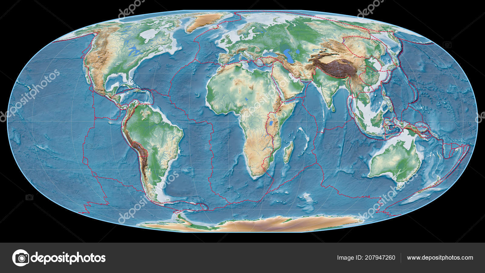 World Map Mcbryde Thomas Projection Centered East Longitude Colored ...