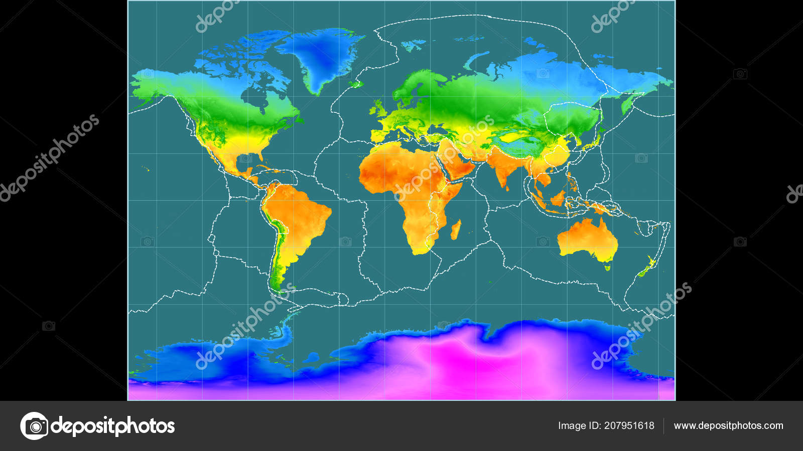 World map miller cylindrical projection centered east longitude mean world map in the miller cylindrical projection centered on 11 east longitude mean annual temperature map composite of raster with graticule and tectonic freerunsca Images