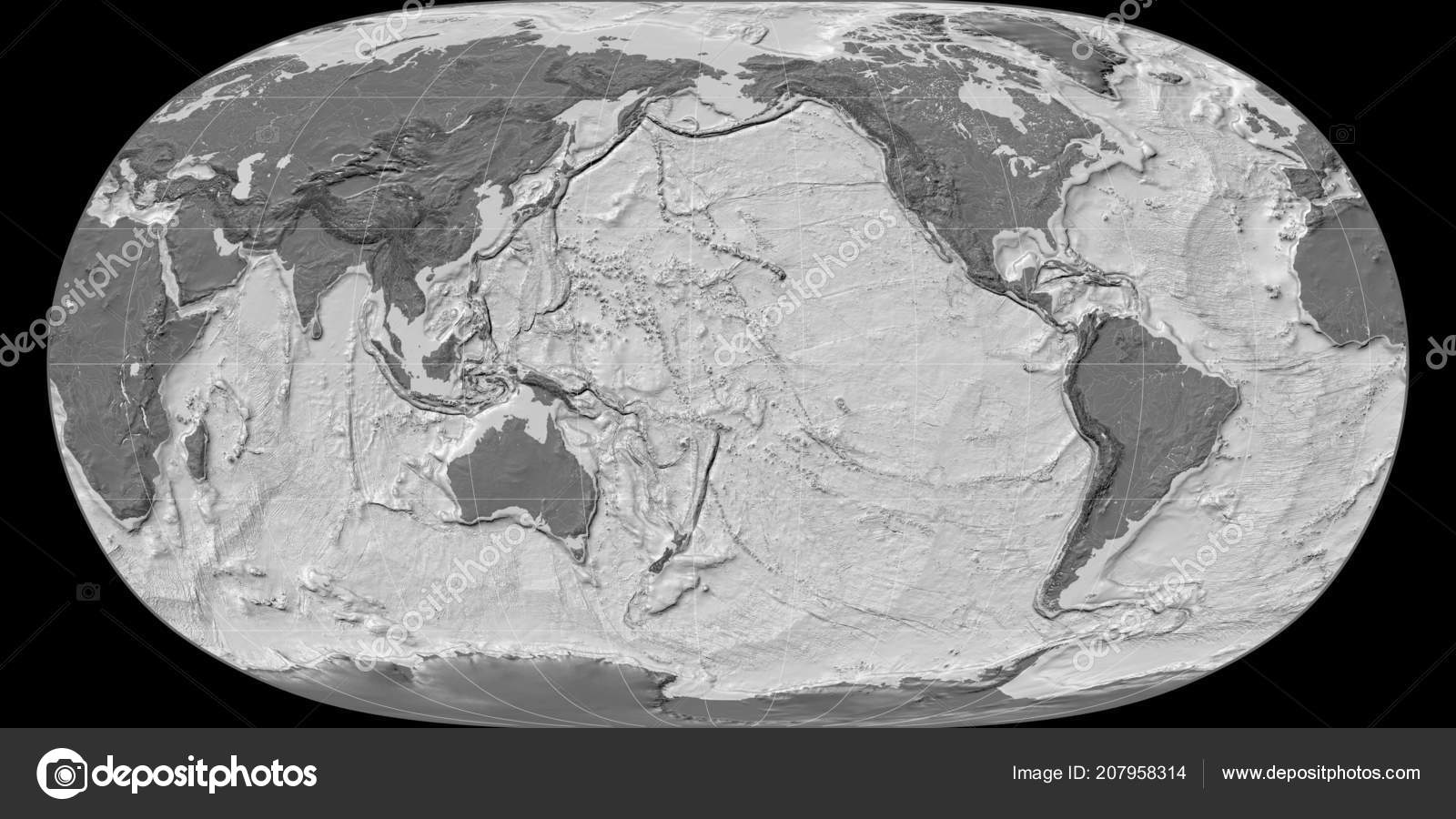 World Map Natural Earth Projection Centered 170 West Longitude