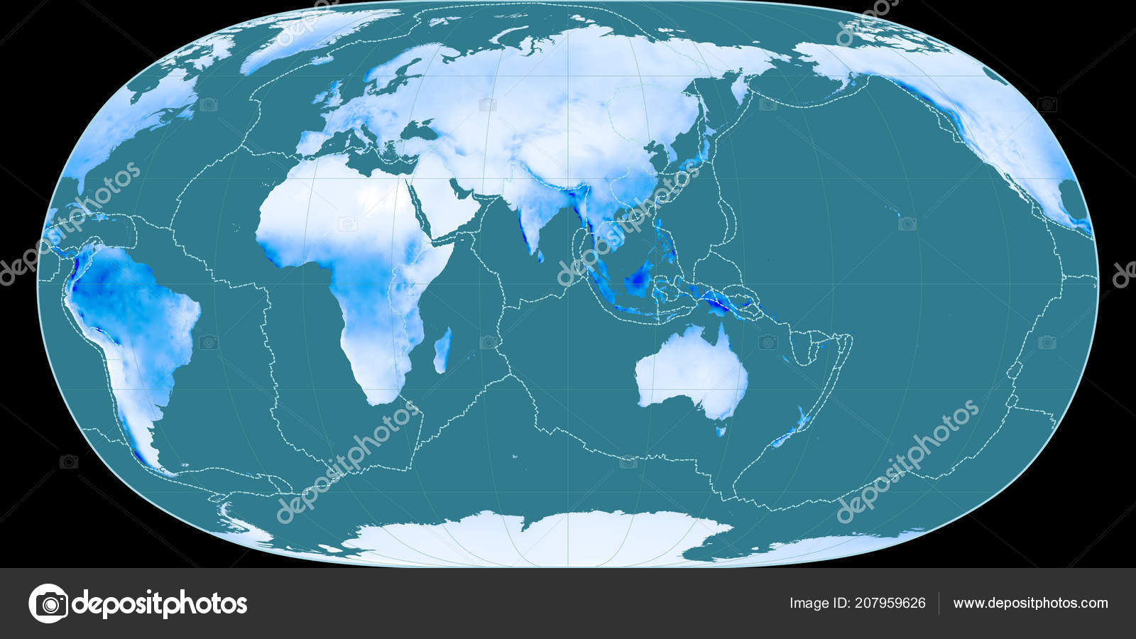 World Map Natural Earth Projection Centered East Longitude Mean