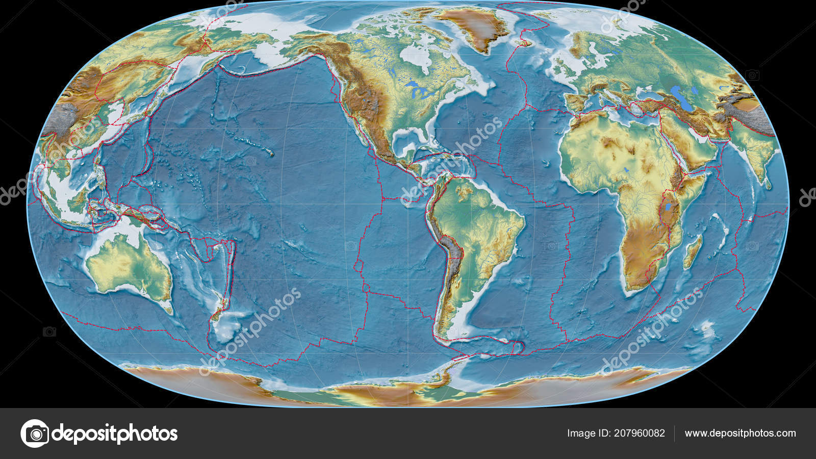 World Map Natural Earth Projection Centered West Longitude