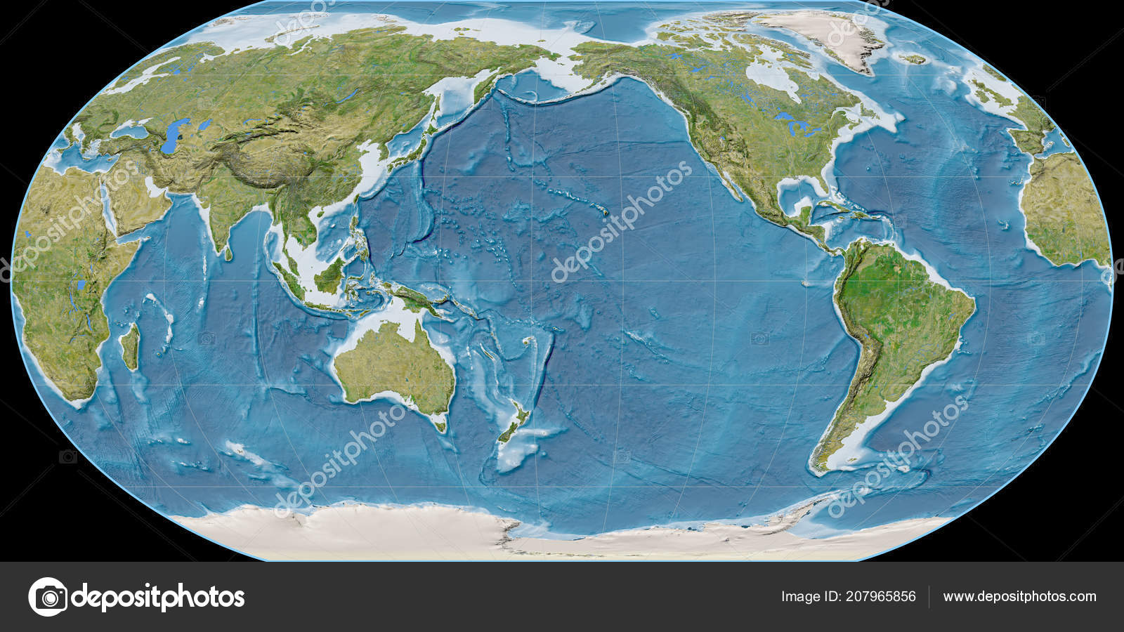 Sattelite Map Of World.World Map Robinson Projection Centered 170 West Longitude Satellite