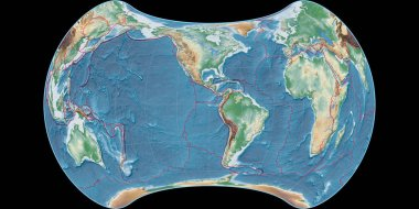 World map in the Strebe Equal-Area projection centered on 90 West longitude. Colored shader, elevation map - composite of raster with graticule and tectonic plates borders