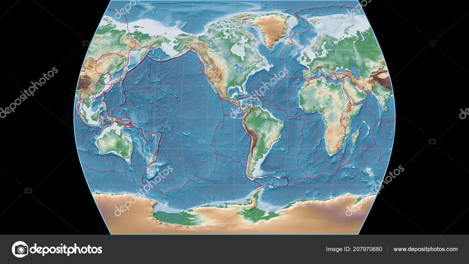 World Map Times Atlas Projection Centered West Longitude Colored