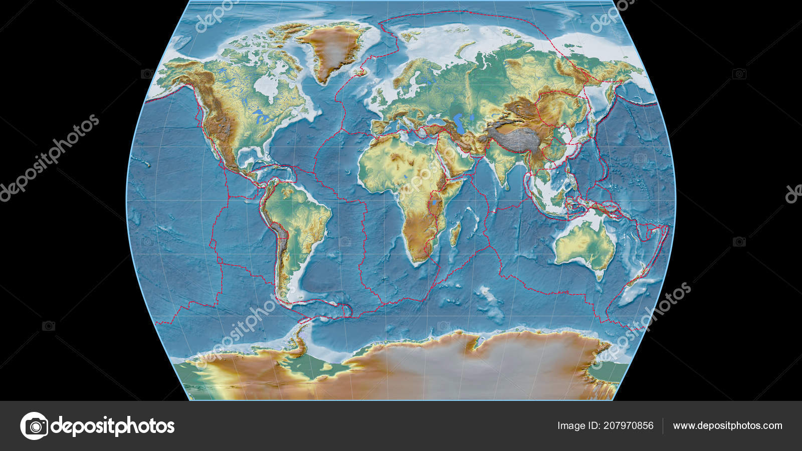 World Map Times Atlas Projection Centered East Longitude Topographic