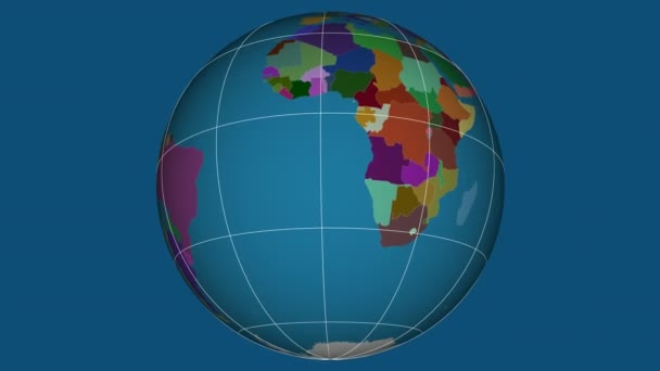 Zoom-in on Namibia extruded on the globe. Capital, administrative borders and graticule. Administrative division