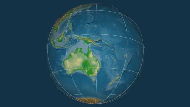 Zoom-in na Nová Kaledonie na celém světě. Kapitál, administrativní hranice a nitkového kříže. Barevná mapa se fyzické