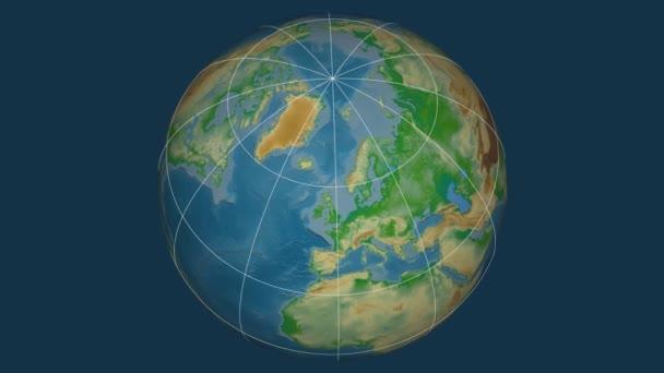 Zoom-in na Norsko na celém světě. Kapitál, administrativní hranice a nitkového kříže. Barevná mapa se fyzické