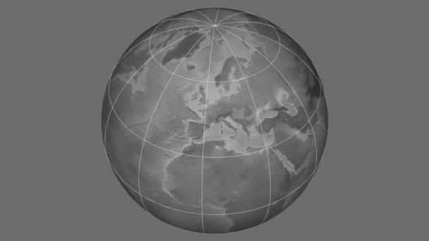 Zoom-in na Slovensku extrudované na celém světě. Kapitál, administrativní hranice a nitkového kříže. Nadmořská výška  pevnin - odstíny šedi