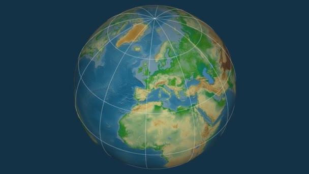 Zoom-in na Slovensku extrudované na celém světě. Kapitál, administrativní hranice a nitkového kříže. Barevná mapa se fyzické