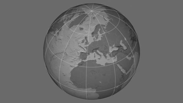 Zoom-in na Slovensku na celém světě. Kapitál, administrativní hranice a nitkového kříže. Nadmořská výška  pevnin - ve stupních šedi do kontrastu