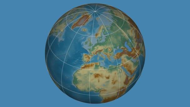 Zoom-in na Slovensku na celém světě. Kapitál, administrativní hranice a nitkového kříže. Reliéfní mapa