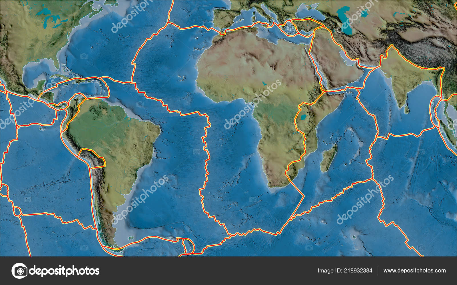 Tectonic Plates Borders Topographic Map Areas Adjacent African Plate