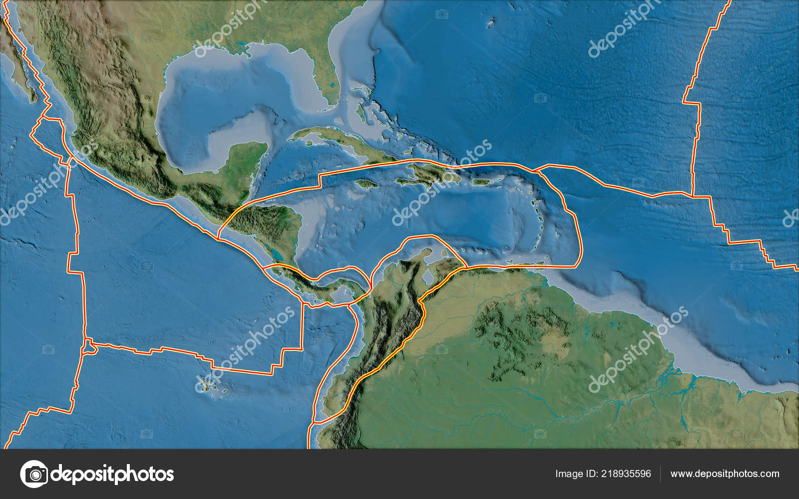 Caribbean Topographic Map.Tectonic Plates Borders Topographic Map Areas Adjacent Caribbean