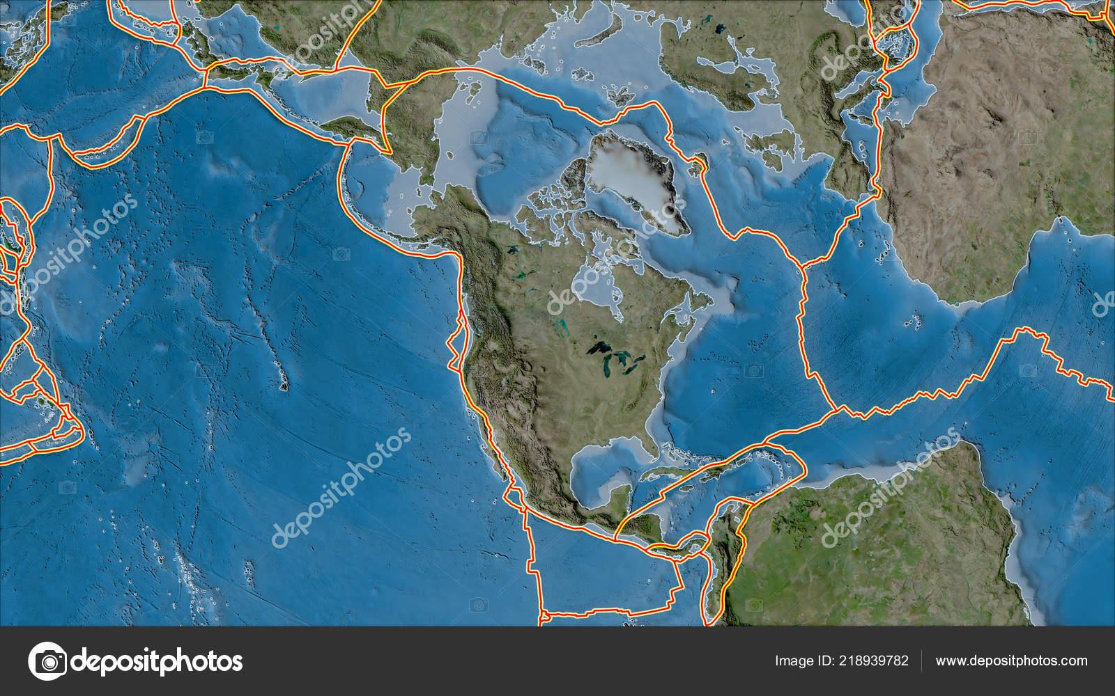 Tectonic Plates Borders Satellite Map Areas Adjacent North American