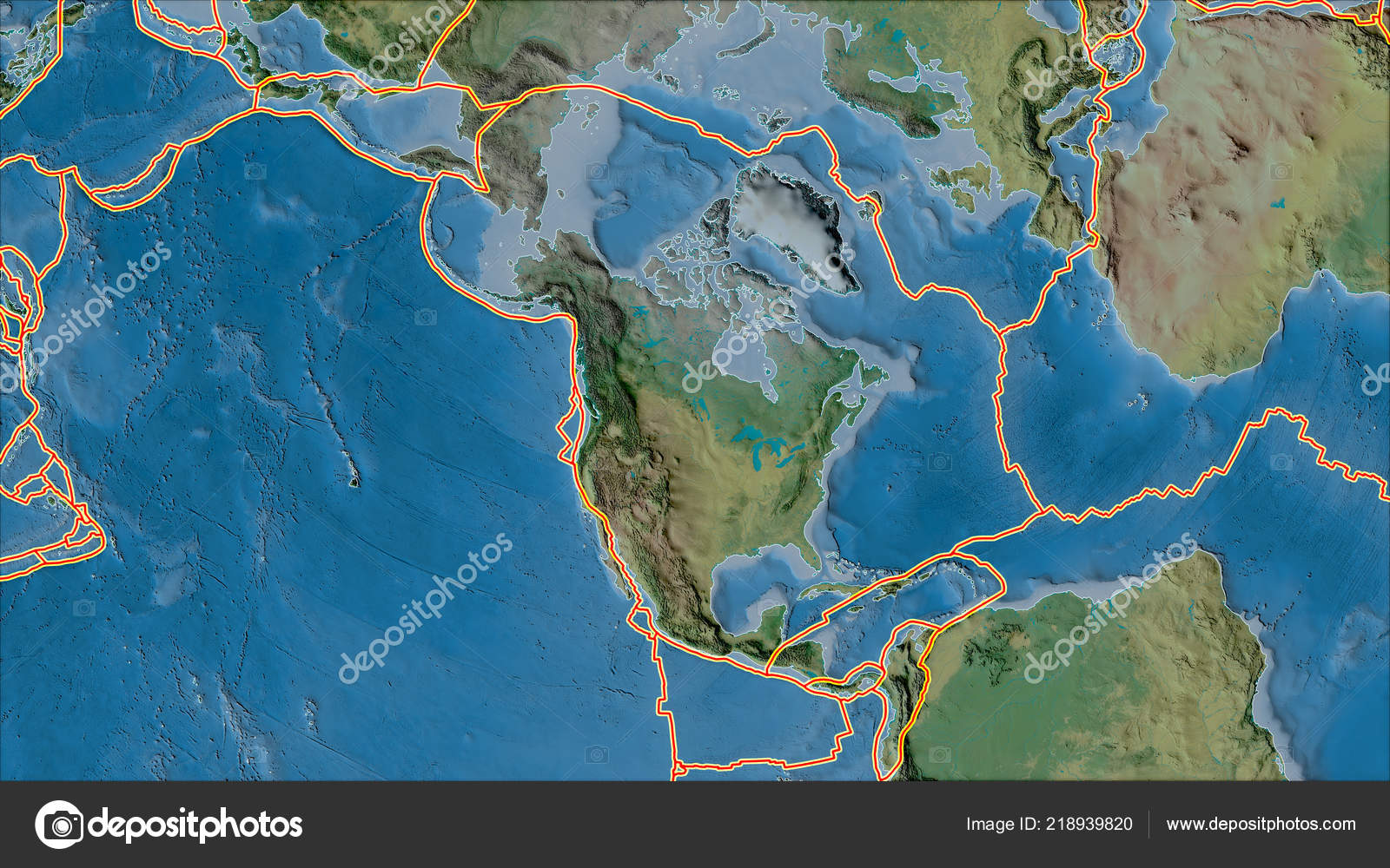 Tectonic Plates Borders Topographic Map Areas Adjacent North