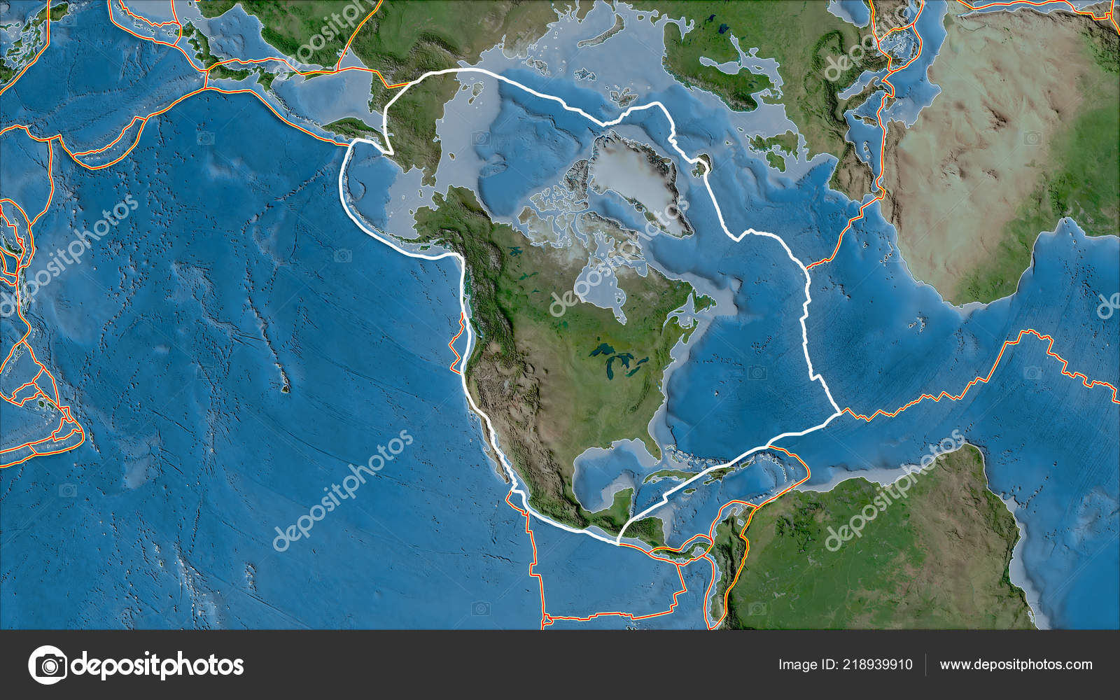 Outlined North American Tectonic Plate Borders Adjacent Plates