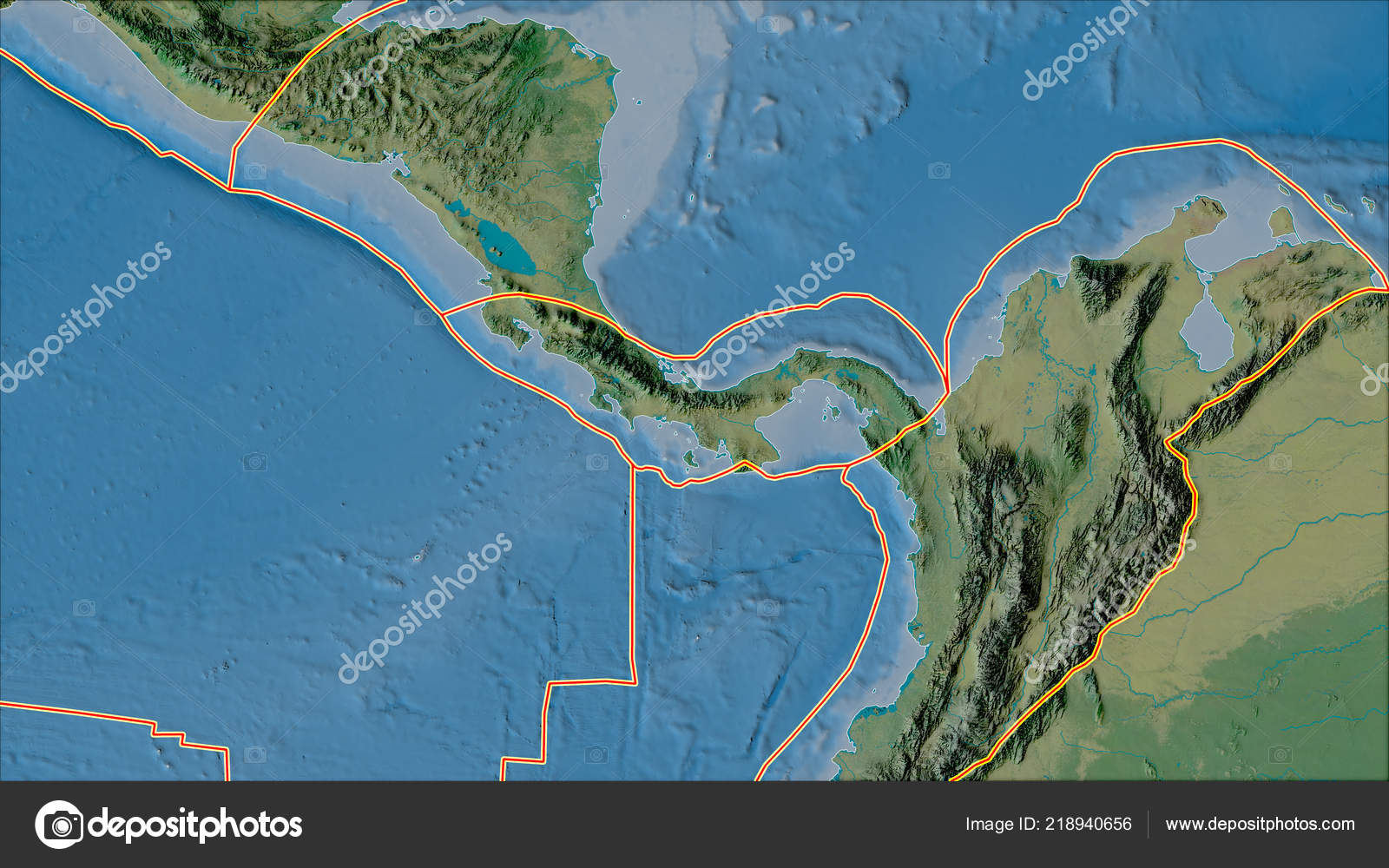 Tectonic Plates Borders Topographic Map Areas Adjacent Panama Plate