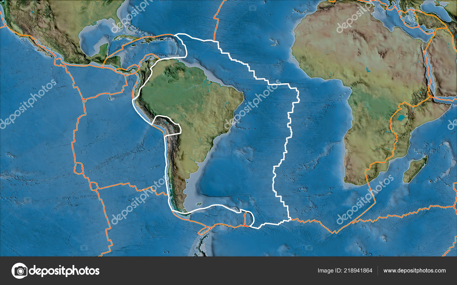 Outlined South American Tectonic Plate Borders Adjacent Plates